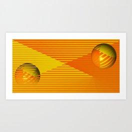 Yellow stripes and balls ... Art Print