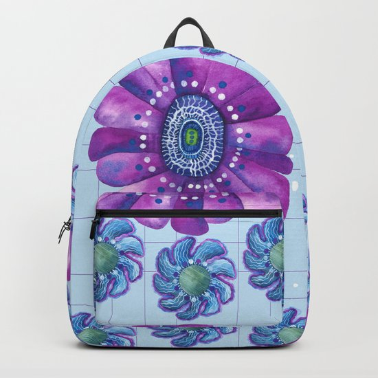 Flower Pattern in Purple and Blue Backpack