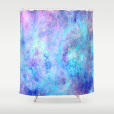 Bright Tarantula Nebula Aqua Lavender Periwinkle Shower Curtain