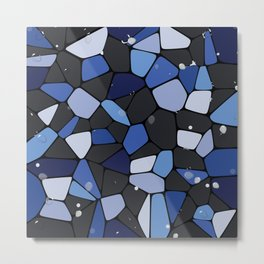 Abstract blue mosaic water illustration Metal Print