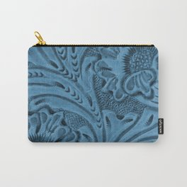 Cornflower Blue Tooled Leather Carry-All Pouch