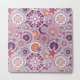 Seventies Bohemian Rock Inspired Geometric Circles and Stars in Purple Metal Print
