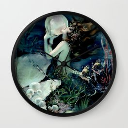Henry Clive: Mermaid with Pearl dark teal Wall Clock