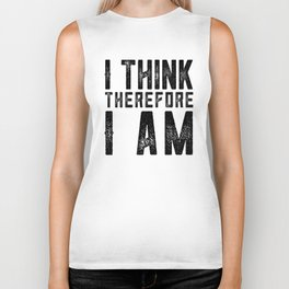 I think therefore I am - on white Biker Tank