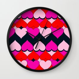 Multi Hearts Red Pink Navy Wall Clock