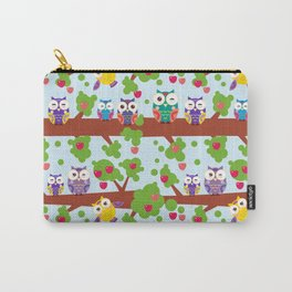bright colorful owls on the branch of a tree with red apples on blue background Carry-All Pouch