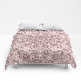 Pink marble kaleidoscope, ornament elements print Comforters