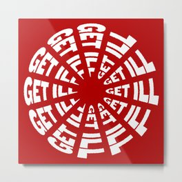Time to Get Ill Clock - Red Metal Print
