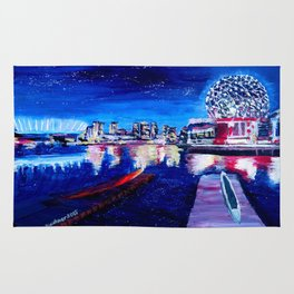 Vancouver skyline at starry night Rug
