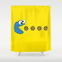 cookie monster Shower Curtains featuring Cookie monster Pacman by dutyfreak