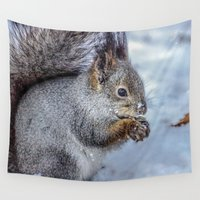 squirrel Wall Tapestries featuring Squirrel by Svetlana Korneliuk