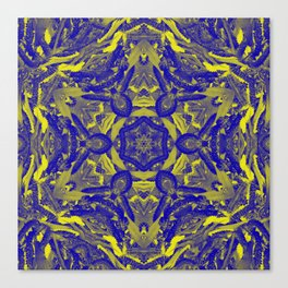 Abstract kaleidoscope of wattle blooms on textured background Canvas Print
