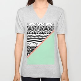 Block | Black White Aztec Pattern Mint Green Color Block Unisex V-Neck