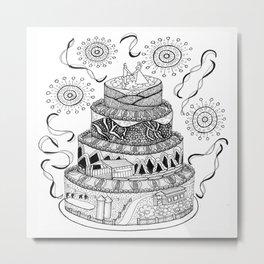 Country Wedding Cake Zentangle Style Metal Print