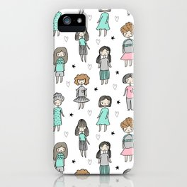 Girls illustration little women cute pattern kids rooms children gifts iPhone Case