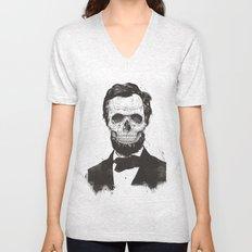 Dead Lincoln (b&w) Unisex V-Neck