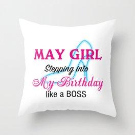 May Girl Birthday Throw Pillow