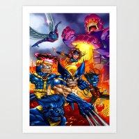 x men Art Prints featuring X - MEN by Vincent Trinidad
