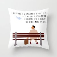 forrest gump Throw Pillows featuring Forrest Gump by Christina
