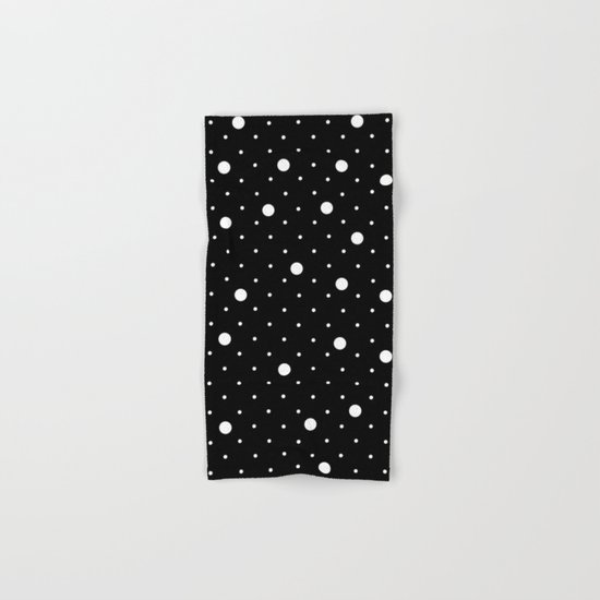 Pin Point Polka Dots White on Black Hand & Bath Towel