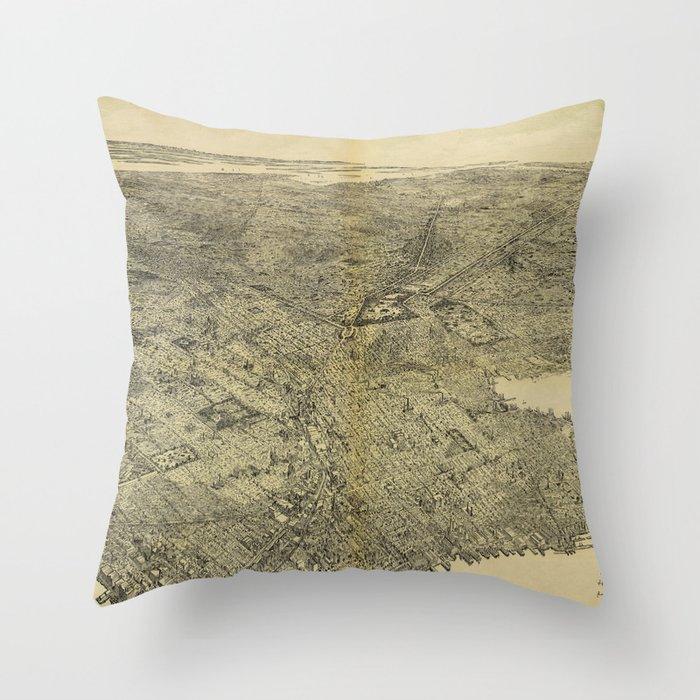 The Borough of Brooklyn, New York (1897) Throw Pillow