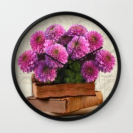 Old Books and Flowers Wall Clock