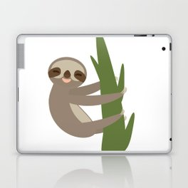 Three-toed sloth on green branch on white background Laptop & iPad Skin