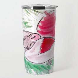 Christmas and New Year sleeping little mouse sumie ink watercolor painting Travel Mug