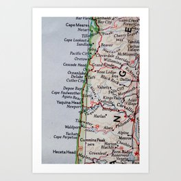 Vintage Oregon Coast Map #traveller #wanderlust #Pacific Art Print