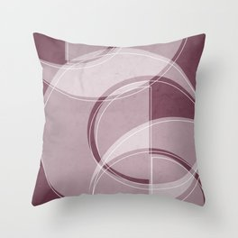 Where the Circles and Semi-Circles Meet in Mulberry Throw Pillow