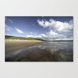 Woolacombe beach reflections  Canvas Print