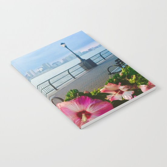 Battery Park New York City Skyline with Pink Hibiscus Flowers Notebook