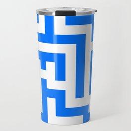 White and Brandeis Blue Labyrinth Travel Mug