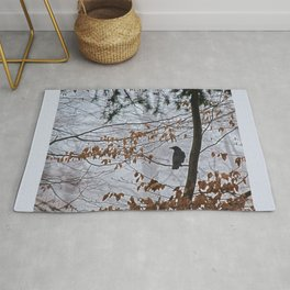 Crow in the mist Rug