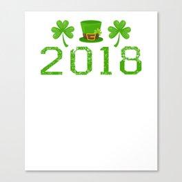 2018 Shamrocks And Leprechaun Hat St. Patrick's Day Canvas Print