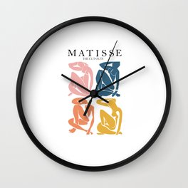 Abstract woman pastel color matisse woman artwork the cut outs Wall Clock