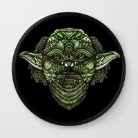 jedi Wall Clocks featuring Aztec Jedi master Yoda iPhone 4 4s 5 5c 6, pillow case, mugs and tshirt by Greenlight8