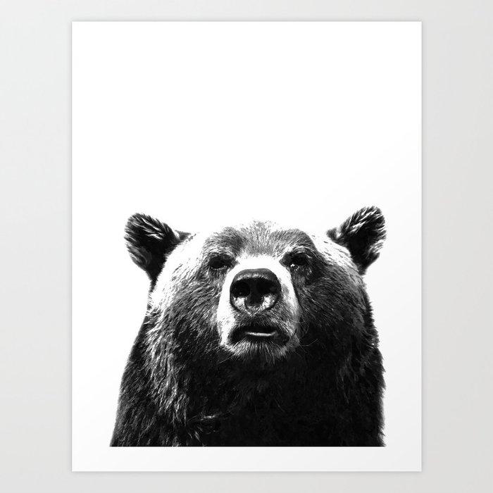 Black and white bear portrait Kunstdrucke