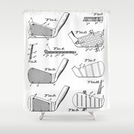 Golf Clubs Patent - Golfing Art - Black And White Shower Curtain