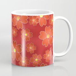 Red orange flowers on an orange background . Coffee Mug