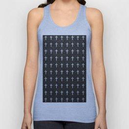 White Crosses Pattern Black Leather Photo Print Unisex Tank Top
