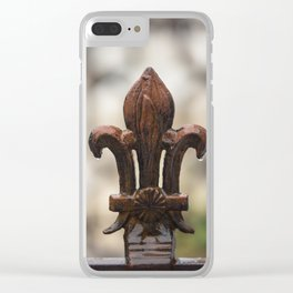 Fluer De Lis - Iron Fluer De Lis with Raindrops in New Orleans French Quarter Clear iPhone Case