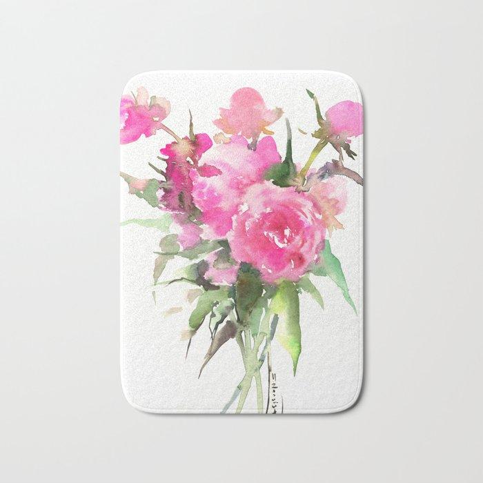 soft pink peonies Bath Mat