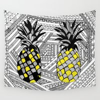 pineapples Wall Tapestries featuring Pineapples  by OhMyDodd Designs