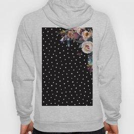 Boho Flowers and Polka Dots on Black Hoody