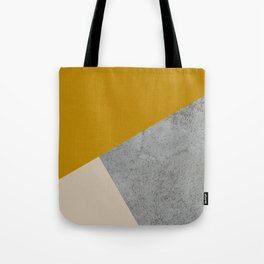 MUSTARD NUDE GRAY GEOMETRIC COLOR BLOCK Tote Bag