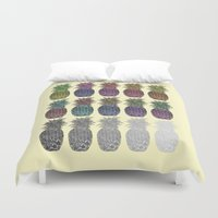 pineapples Duvet Covers featuring Pineapples by Hinterlund