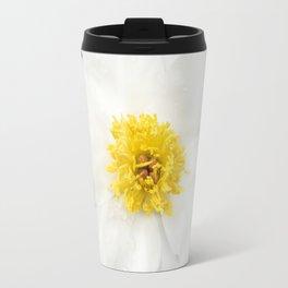 White Krinkled Peony Flower Travel Mug