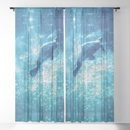 blue water and sea turtle abstract wildlife photography Sheer Curtain