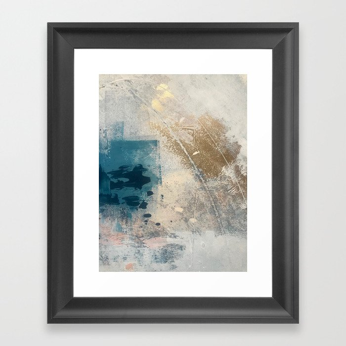 Embrace: a minimal, abstract mixed-media piece in blues and gold with a hint of pink Gerahmter Kunstdruck